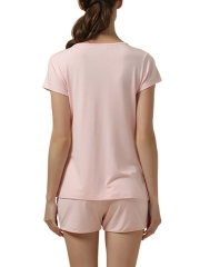 Short Sleeve Round Neck Sleepwear Modal Pajama Set For Women