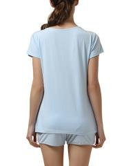 Short Sleeve Round Neck Sleepwear Modal Pajama Set For Women