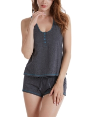 Women Sleeveless Pajama Set Tank Top and Shorts Sleepwear