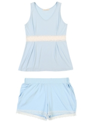 Women Sleeveless Modal Pajamas Set Lace Camisole Sleepwear