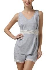 Women Sleeveless Modal Pajamas Set Lace Camisole Sleepwear