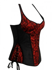 Lace Cover Red Halter Overbust Women Corset Wholesale