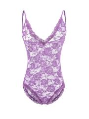Women Transparent Floral Lace Teddies Bodysuit Lingerie