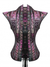 Purple Gothic 12 Steel Boned Overbust Steampunk Corset Tops