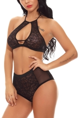 Women Halter Open Cup Strappy  Lace Bra Sets Lingerie