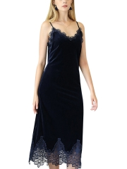 Women Sleeveless Velvet Sleep Dress Nightgowns Sleepwear