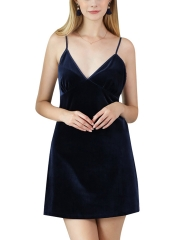 Women V Neck Sleepwear Slip Nightgowns Velvet Nightdress