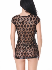 Short Sleeve Floral Lace Babydoll Robes Lingerie For Women
