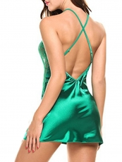 Deep V See Through Lace Chemise Satin Backless Nightgowns