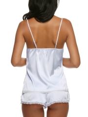 Womens Lace Trim Sleepwear Satin Pajama Cami Shorts Set