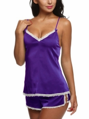 Womens Lace Trim Sleepwear Satin Pajama Cami Shorts Set