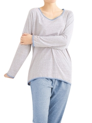 Long Sleeve Cotton Pajamas Sets U Neck Sleepwear For Women