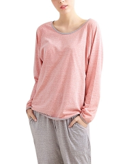 Long Sleeve Cotton Pajamas Sets U Neck Sleepwear For Women