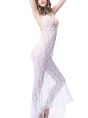 White Maxi Babydolls Transparent Lace Chemises Lingerie