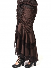 Brown Gothic Steampunk Maxi Victorian Ruffled Satin Skirts