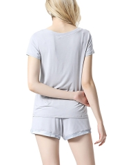 Short Sleeve Flexible Modal Sleepwear V Neck Pajamas Sets