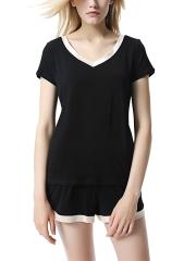 Short Sleeve Flexible Modal Sleepwear V Neck Pajamas Sets
