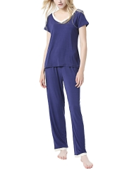 Two Pieces Women Long Sleeve Modal Pajamas Sets Sleepwear