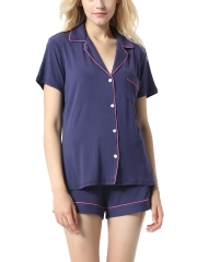 Short Sleeve Modal Button Soft Sleepwear Pajamas Sets