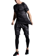 3 PCS Mens Breathable Short Sleeve Quick Dry Shapewear Sets