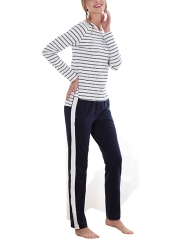 Womens Soft Long Sleeve Stripe Cotton Sleepwear Pajama Set