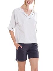 V Neck Short Sleeve Shorts Pajamas Sets for Women Sleepwear