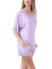 Women Scoop Neck Modal Sleepwear Short Sleeve Pajama Set