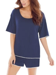 Soft Casual Women Short Sleeve Modal Pajama Set Sleepwear