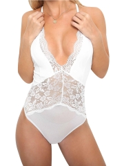One Piece V-Neck Bodysuits Lace Teddies Lingerie For Women