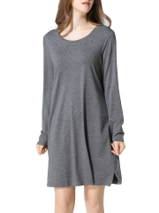 Grey Long Sleeve Modal Nightgowns Loose Fit Sleepwear