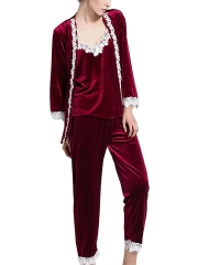 Women Velvet Flannel 3 Pieces Comfort Sleepwear Pajamas Sets