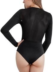 Women Long Sleeve Teddies Lingerie Bodysuit Jumpsuit Top