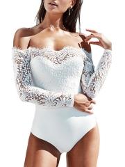 Women Off Shoulder Long Sleeve Lace Teddies Lingerie