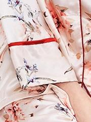 Women Printed Floral Long Sleeve Satin Pajama Set Sleepwear