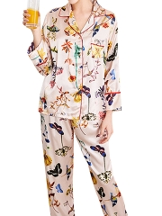 Colorful Long Sleeve Pajama Set Satin Sleepwear For Women