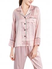 Women Pink Satin Long Sleeve Stripe Pajama Sleepwear Set