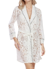 Hollow Out See Trough Lace Kimono Bathing Robes Sleepwear
