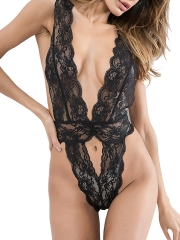 Sexy Deep V Sheer Lace One Pieces Bodysuits Teddies Lingerie