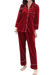 Luxury Velvet Long Sleeve Pajamas Sets Sleepwear For Women