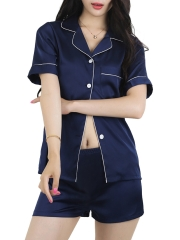 Women Satin Short Sleeve Sleepshirt and Shorts Pajamas Sets