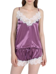 Women Lace Trim Sleeveless Satin Pajamas Sets Sleepwear