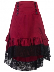 Vintage Steampunk Victorian Gothic Lace Skirt Ruffle Dress