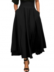 High Waist Casual A-Line Pleated Belted Skirt with Pocket