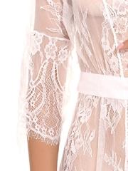 Sexy Lingerie Eyelash Lace Kimono Robe Babydoll Nightgown