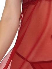 Transparent V-Neck Lace Halter Babydoll Open Back Lingerie