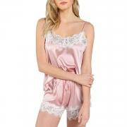 Women Sleepwear Strap Lace Camisole Shorts Set Satin Pajama