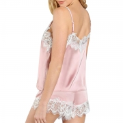 Women Sleepwear Strap Lace Camisole Shorts Set Satin Pajama