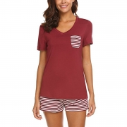 Pajama Set Short Sleeve Top with Striped Pants Sleepwear Set