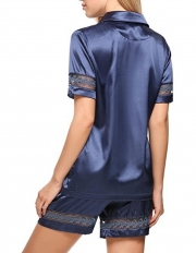 Women Satin Sleepwear Button Down Embroidery Lace Pajama Set