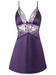 Women's Lingerie V Neck Sexy Satin Lace Chemise Mini Teddy